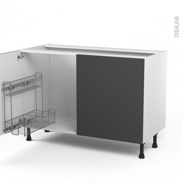 GINKO Gris - Meuble sous-évier - 2 portes lessiviel - L120xH70xP58