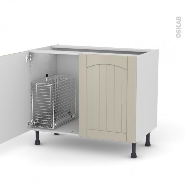 SILEN Argile - Meuble sous-évier - 2 portes rangement coulissant sécurité enfant - L100xH70xP58