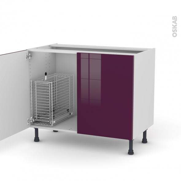 KERIA Aubergine - Meuble sous-évier - 2 portes rangement coulissant sécurité enfant - L100xH70xP58