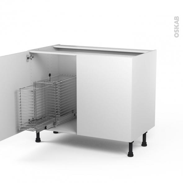 GINKO Blanc - Meuble sous-évier - 2 portes rangement coulissant sécurité enfant - L100xH70xP58