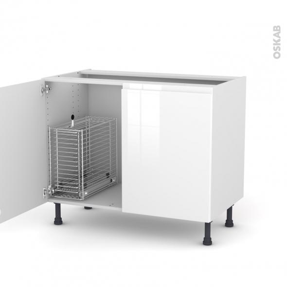 IPOMA Blanc - Meuble sous-évier - 2 portes rangement coulissant sécurité enfant - L100xH70xP58