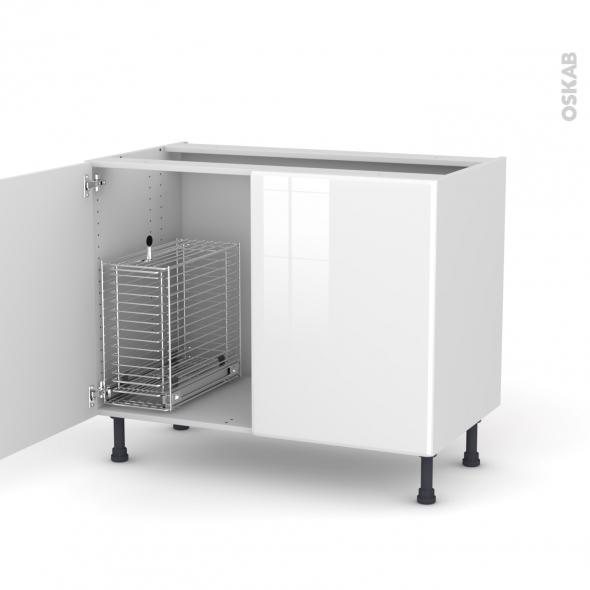 IRIS Blanc - Meuble sous-évier - 2 portes rangement coulissant sécurité enfant - L100xH70xP58