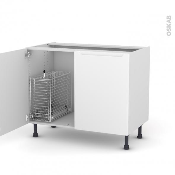 PIMA Blanc - Meuble sous-évier - 2 portes rangement coulissant sécurité enfant - L100xH70xP58