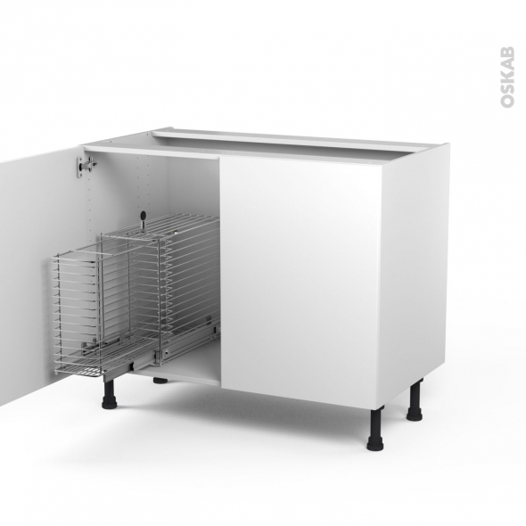 STECIA Blanc - Meuble sous-évier - 2 portes rangement coulissant sécurité enfant - L100xH70xP58