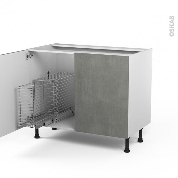 FAKTO Béton - Meuble sous-évier - 2 portes rangement coulissant sécurité enfant - L100xH70xP58