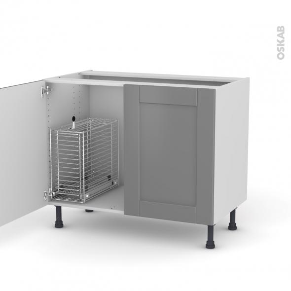 FILIPEN Gris - Meuble sous-évier - 2 portes rangement coulissant sécurité enfant - L100xH70xP58