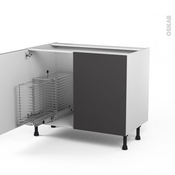 GINKO Gris - Meuble sous-évier - 2 portes rangement coulissant sécurité enfant - L100xH70xP58