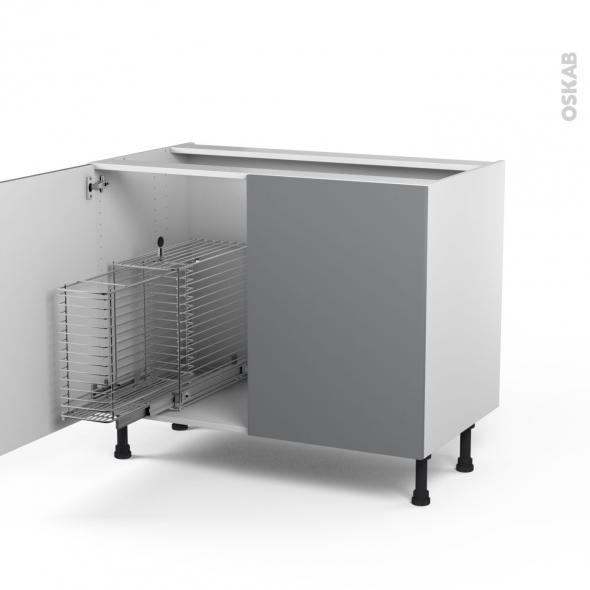 STECIA Gris - Meuble sous-évier - 2 portes rangement coulissant sécurité enfant - L100xH70xP58