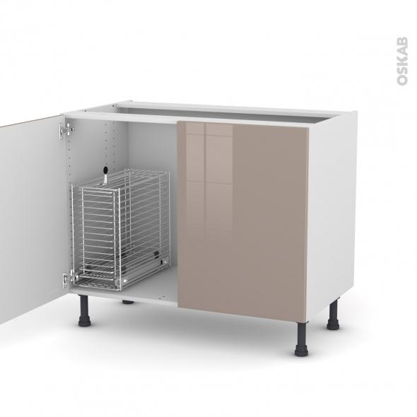 KERIA Moka - Meuble sous-évier - 2 portes rangement coulissant sécurité enfant - L100xH70xP58