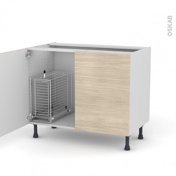 STILO Noyer blanchi - Meuble sous-évier - 2 portes rangement coulissant sécurité enfant - L100xH70xP58