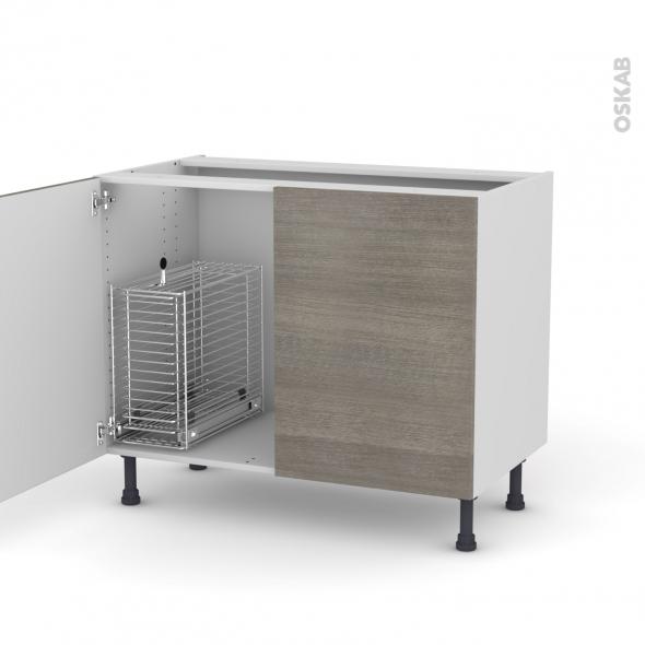 STILO Noyer naturel - Meuble sous-évier - 2 portes rangement coulissant sécurité enfant - L100xH70xP58
