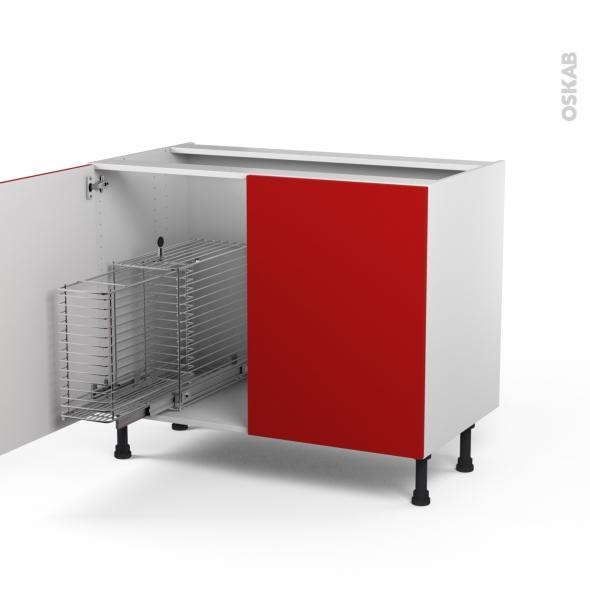 GINKO Rouge - Meuble sous-évier - 2 portes rangement coulissant sécurité enfant - L100xH70xP58