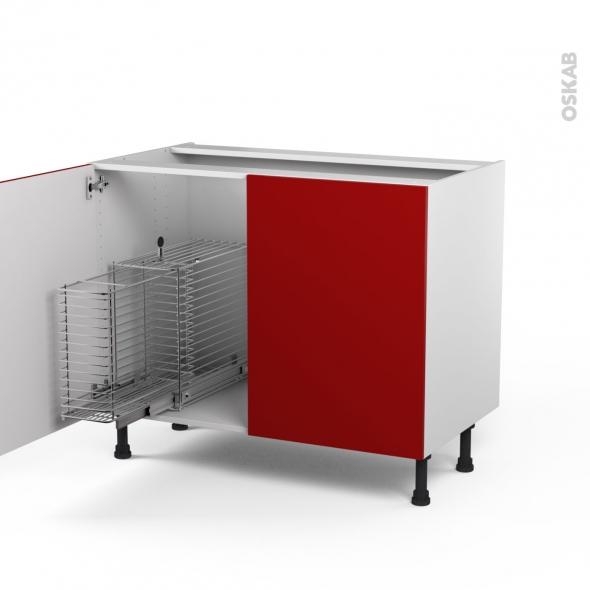 STECIA Rouge - Meuble sous-évier - 2 portes rangement coulissant sécurité enfant - L100xH70xP58