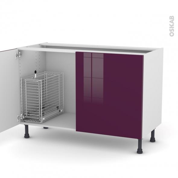 KERIA Aubergine - Meuble sous-évier - 2 portes rangement coulissant sécurité enfant - L120xH70xP58