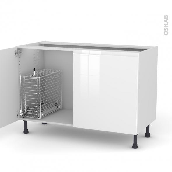 IPOMA Blanc - Meuble sous-évier - 2 portes rangement coulissant sécurité enfant - L120xH70xP58