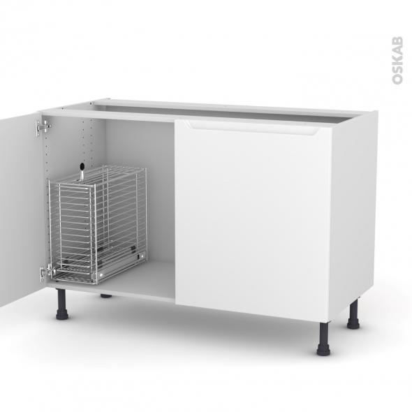 PIMA Blanc - Meuble sous-évier - 2 portes rangement coulissant sécurité enfant - L120xH70xP58