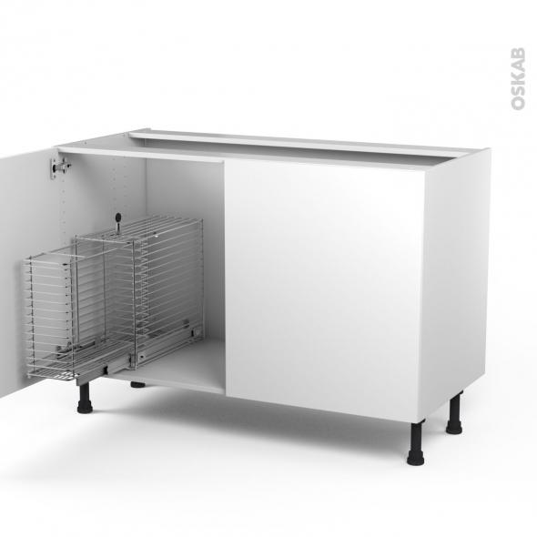 STECIA Blanc - Meuble sous-évier - 2 portes rangement coulissant sécurité enfant - L120xH70xP58