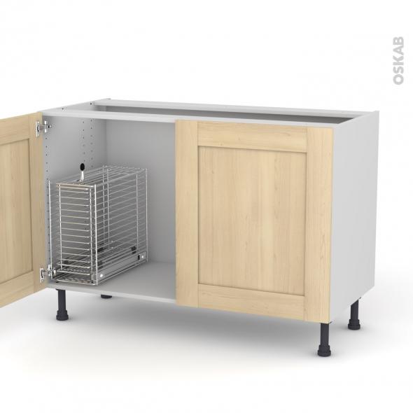 BETULA - Meuble sous-évier - 2 portes rangement coulissant sécurité enfant - L120xH70xP58
