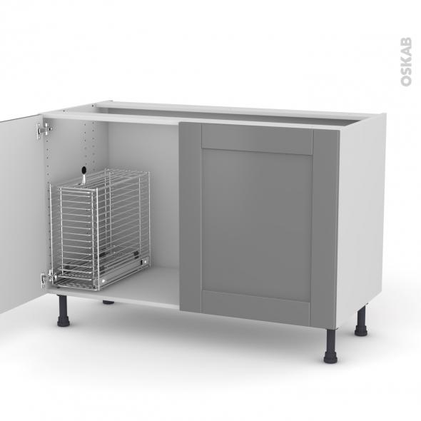 FILIPEN Gris - Meuble sous-évier - 2 portes rangement coulissant sécurité enfant - L120xH70xP58