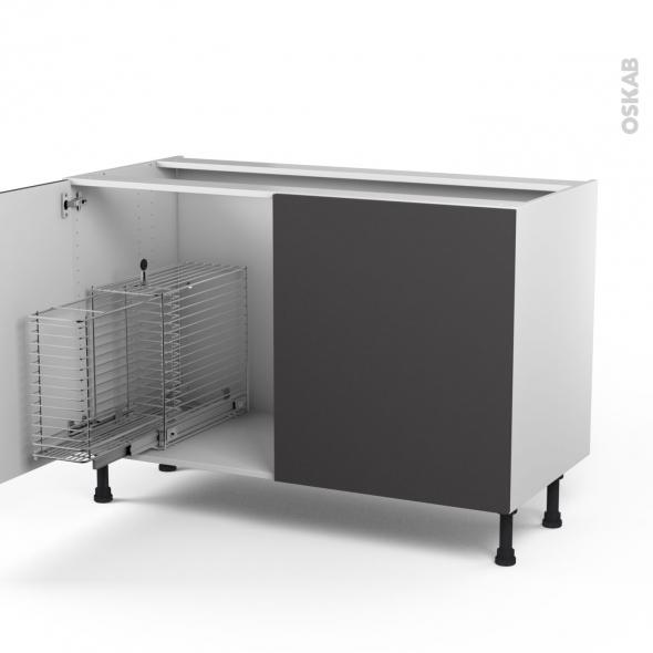 GINKO Gris - Meuble sous-évier - 2 portes rangement coulissant sécurité enfant - L120xH70xP58