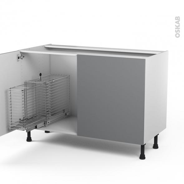 STECIA Gris - Meuble sous-évier - 2 portes rangement coulissant sécurité enfant - L120xH70xP58