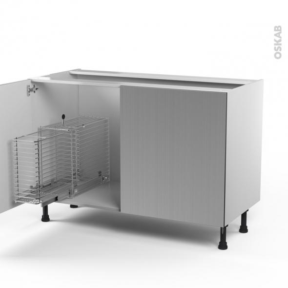 STILO Inox - Meuble sous-évier - 2 portes rangement coulissant sécurité enfant - L120xH70xP58