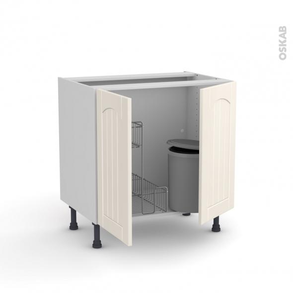 SILEN Ivoire - Meuble sous-évier - 2 portes rangement coulissant sécurité enfant - L80xH70xP58