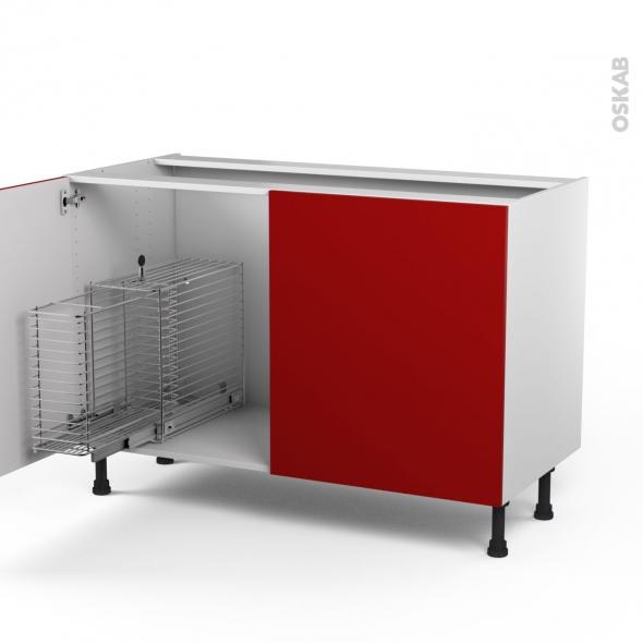 STECIA Rouge - Meuble sous-évier - 2 portes rangement coulissant sécurité enfant - L120xH70xP58