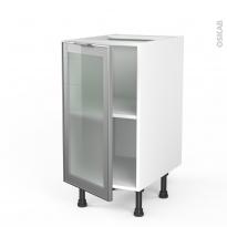 Meuble de cuisine - Bas vitré - Façade alu - 1 porte - L40 x H70 x P58 - SOKLEO
