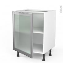 SOKLEO - Meuble bas cuisine  - Façade alu vitrée - 1 porte - L60xH70xP58