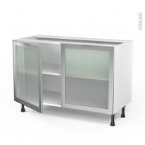 Meuble de cuisine - Bas vitré - Façade alu - 2 portes - L120 x H70 x P58 cm - SOKLEO