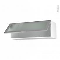 Meuble de cuisine - Haut abattant vitré - Façade alu - 1 porte - L100 x H35 x P37 cm - SOKLEO