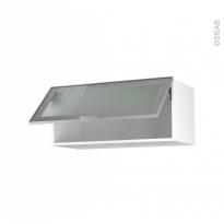 SOKLEO - Meuble haut abattant H35  - Façade alu vitrée - 1 porte - L80xH35xP37