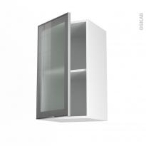 SOKLEO - Meuble haut ouvrant H70  - Façade alu vitrée - 1 porte - L40xH70xP37