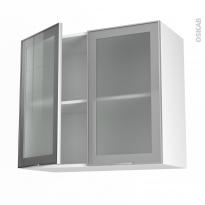 SOKLEO - Meuble haut ouvrant H70  - Façade alu vitrée - 2 portes - L80xH70xP37
