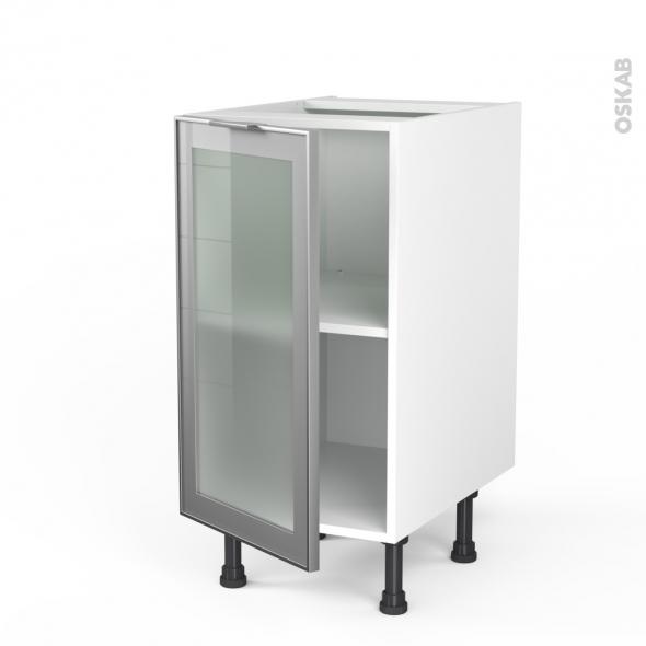 SOKLEO - Meuble bas cuisine  - Façade alu vitrée - 1 porte - L40xH70xP58