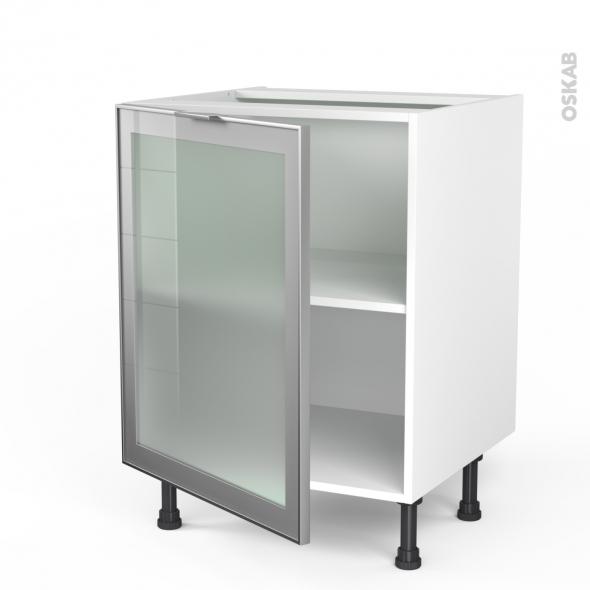 Meuble de cuisine - Bas vitré - Façade alu - 1 porte - L60 x H70 x P58 cm - SOKLEO