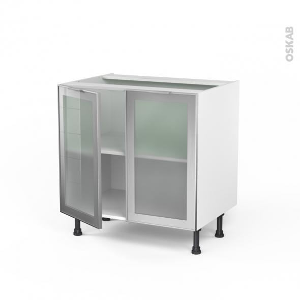 Meuble de cuisine - Bas vitré - Façade alu - 2 portes - L80 x H70 x P58 cm - SOKLEO