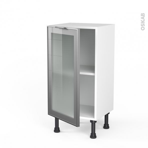 SOKLEO - Meuble bas cuisine prof.37  - Façade alu vitrée - 1 porte - L40xH70xP37
