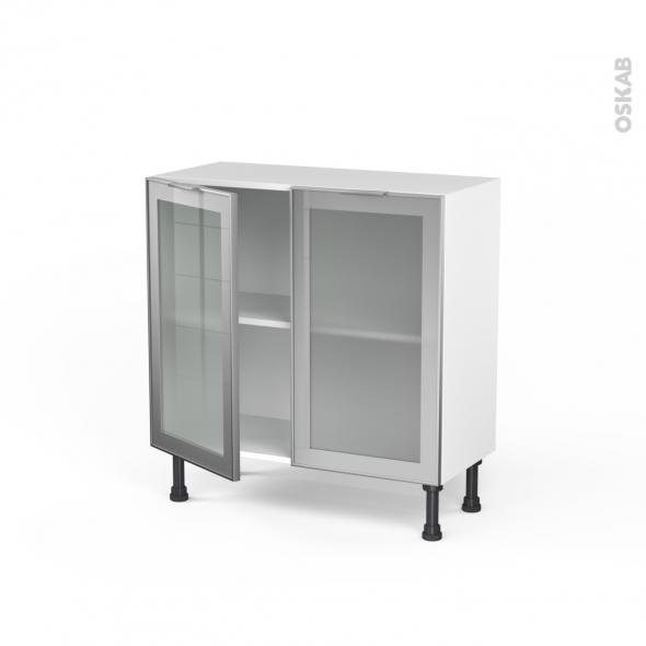 SOKLEO - Meuble bas cuisine prof.37  - Façade alu vitrée - 2 portes - L80xH70xP37