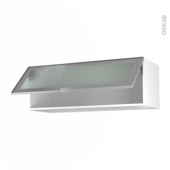 SOKLEO - Meuble haut abattant H35  - Façade alu vitrée - 1 porte - L100xH35xP37
