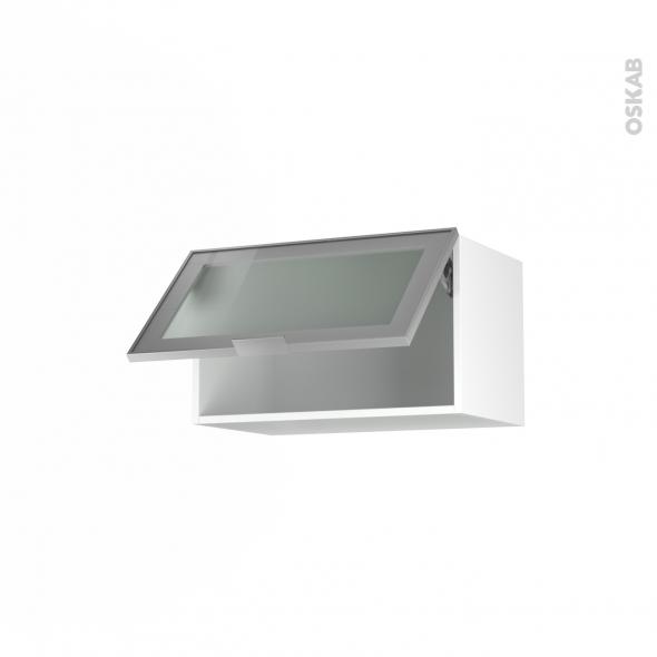 Meuble de cuisine - Haut abattant vitré - Façade alu - 1 porte - L60 x H35 x P37 cm - SOKLEO
