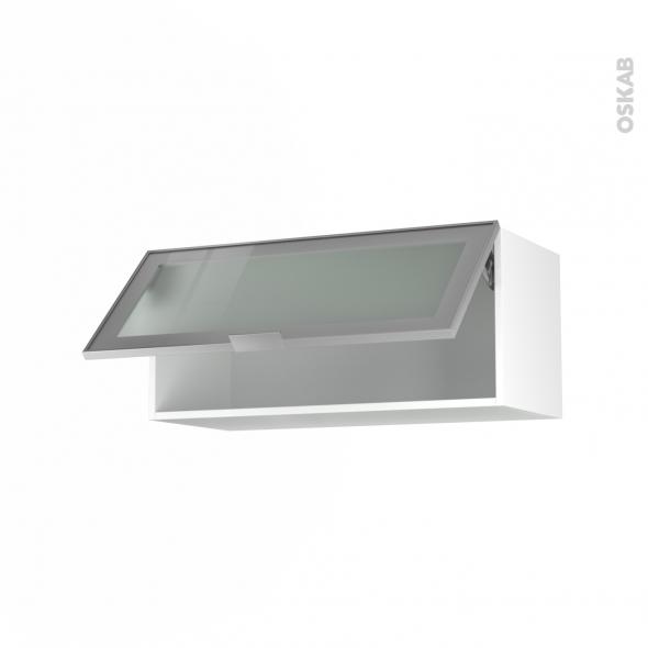 Meuble de cuisine - Haut abattant vitré - Façade alu - 1 porte - L80 x H35 x P37 cm - SOKLEO