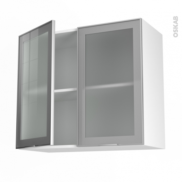 meuble de cuisine haut ouvrant vitré façade alu 2 portes l80 x h70 ... - Portes De Meubles De Cuisine