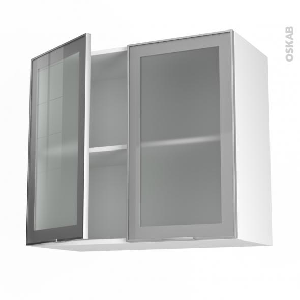meuble de cuisine haut ouvrant vitré façade alu 2 portes l80 x h70 ... - Facade Meuble Cuisine