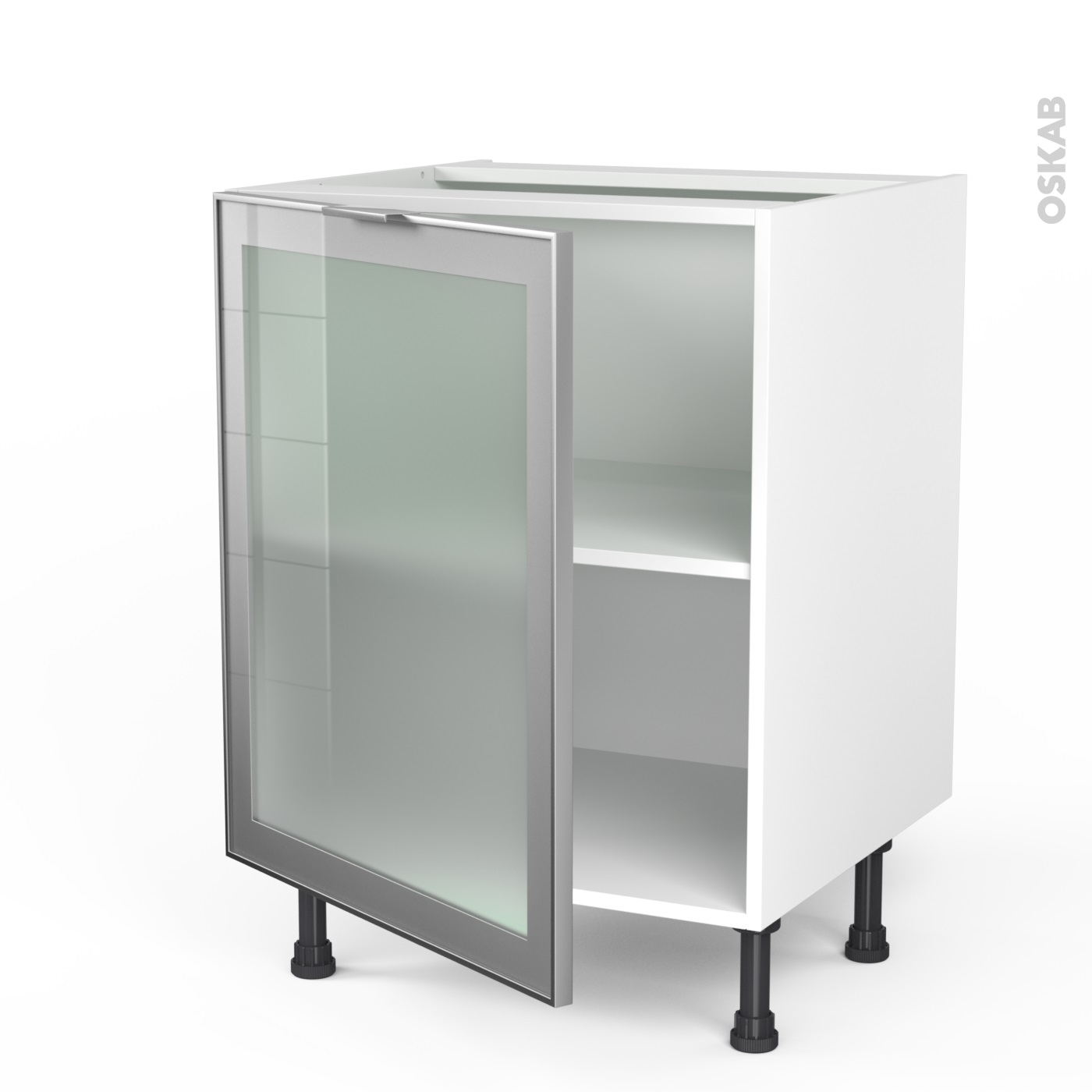 meuble de cuisine bas vitr faade alu 1 porte l60 x h70 x p58 cm sokleo oskab