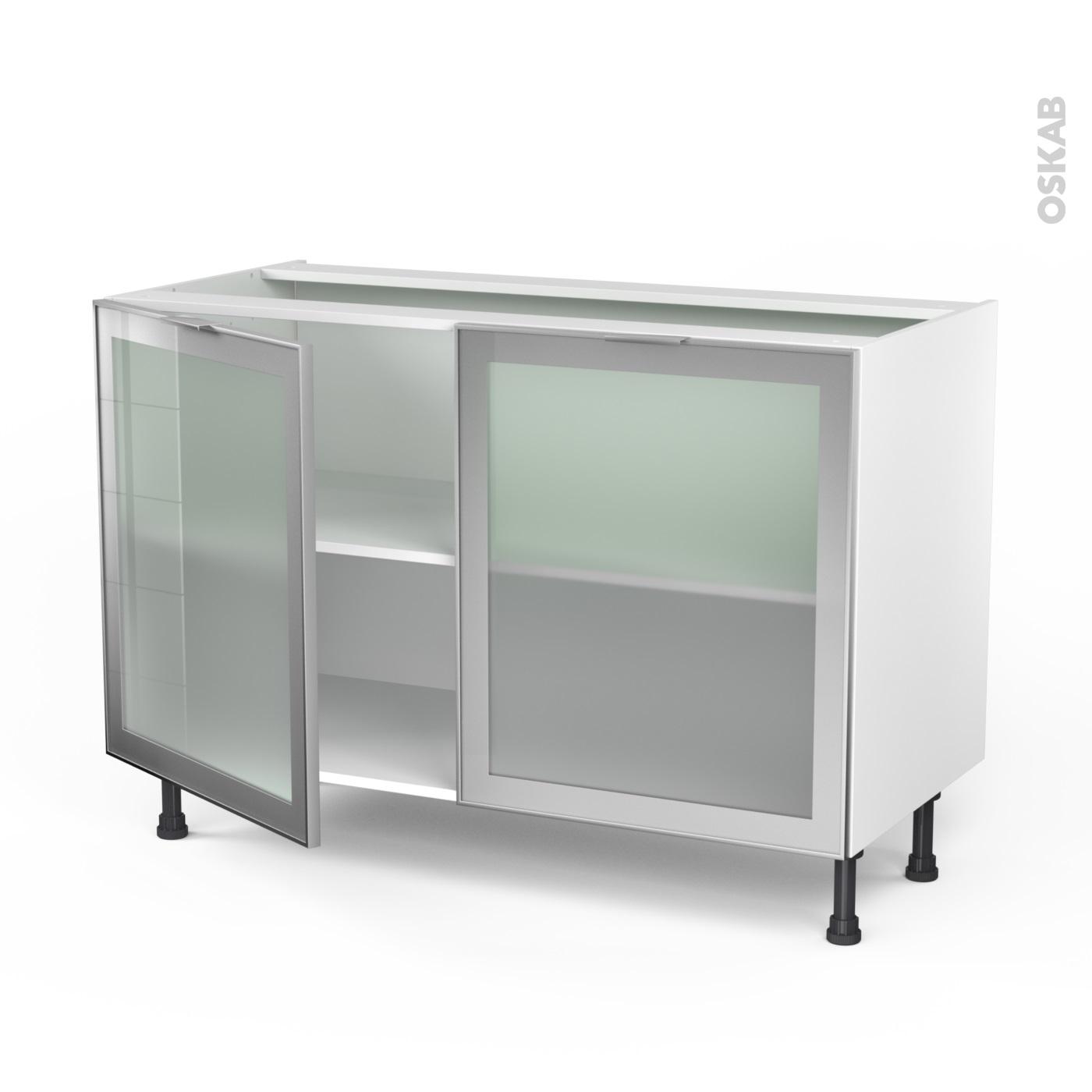 Meuble Bas De Rangement Pour Cuisine meuble de cuisine bas vitré façade alu, 2 portes, l120 x h70 x p58 cm,  sokleo