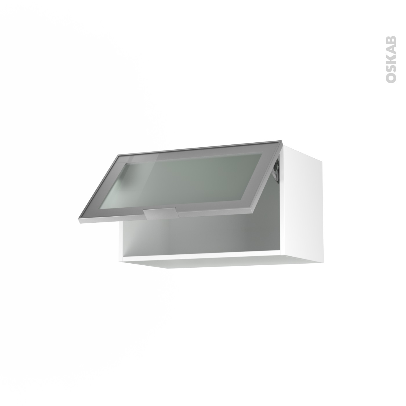 Meuble de cuisine Haut abattant vitré Façade alu, 10 porte, L10 x H10 x P10  cm, SOKLEO