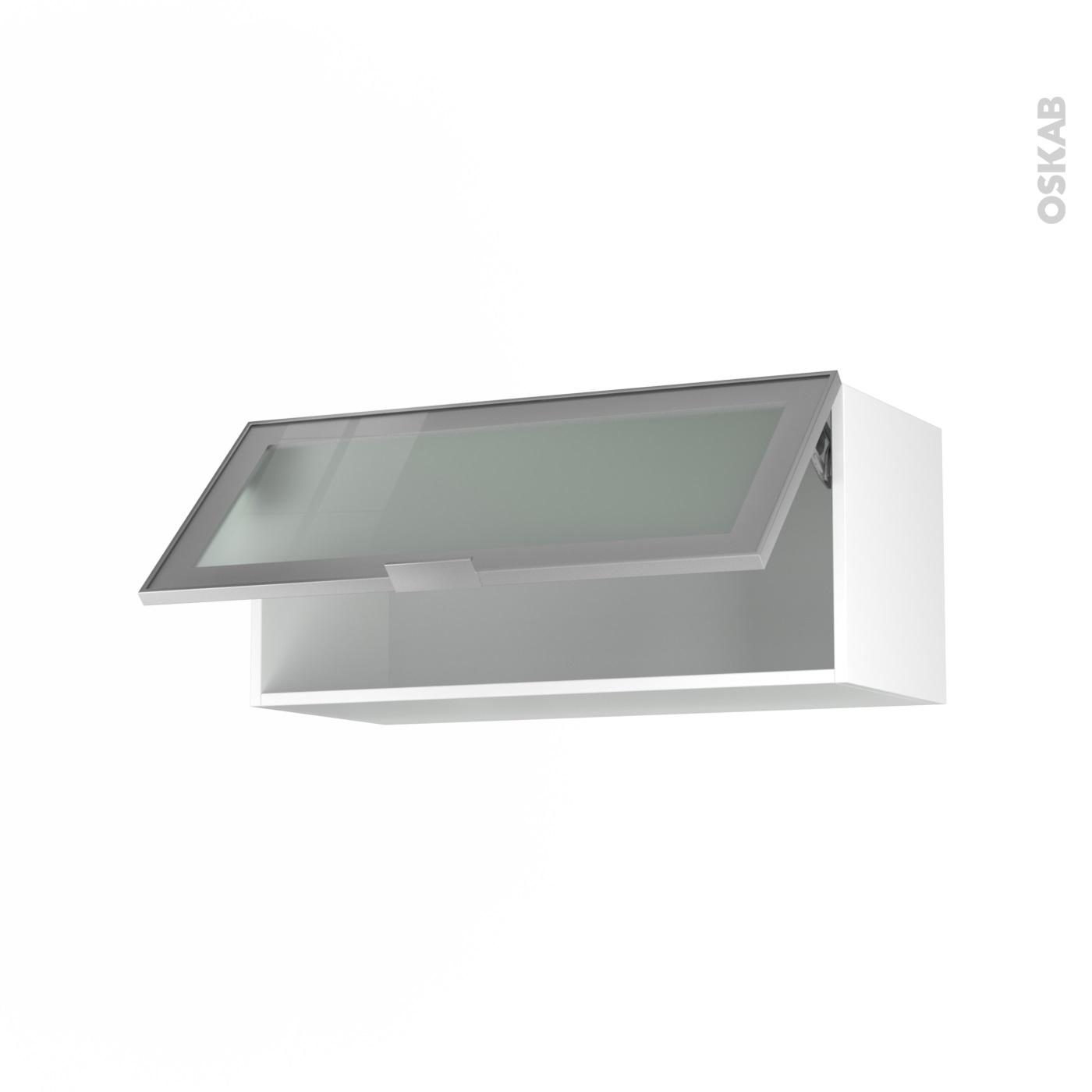 Meuble de cuisine Haut abattant vitré Façade alu 1 porte L80 x H35 x P37 cm  SOKLEO - Oskab