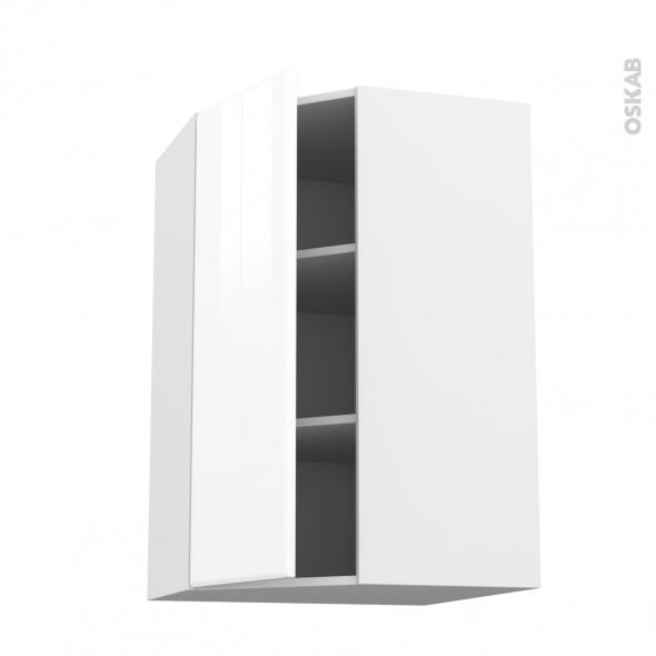 Meuble de cuisine - Angle haut - IRIS Blanc - 1 porte N°23 L40 cm - L65 x H92 x P37 cm